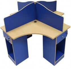 88 x 88 Four Person Workstation (Royal Blue & B.Beech)