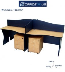 120 X 70 Four Person Workstation