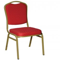 SC 017 BANQUET CHAIR V SHAPE GOLD FRAME (RED FABRIC)