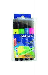 Pelikan Text Marker 414 Triangular Highlighters, 4 Pack, Assorted Colors