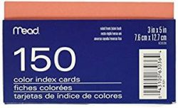 63036me - Mead Colour Index Cards Ruled 3 X 5 150 Sheets