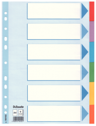 100192 - ESSELTE - DIVIDER CARD A4 6 TABS